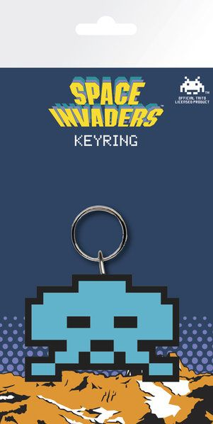 Space Invaders Retro Rubber Keychain